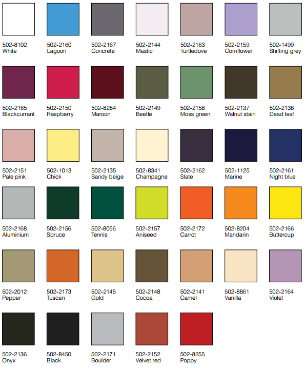 Architectural Vinyl Colours
